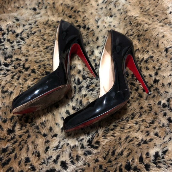 super popular b9fdc a885e Auth christian louboutin black patent leather heel
